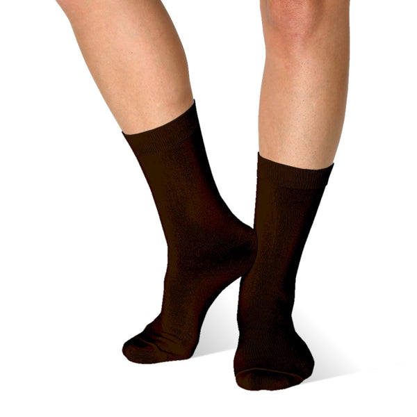 Far infrared Circulation Crew Socks in Chocolate Brown