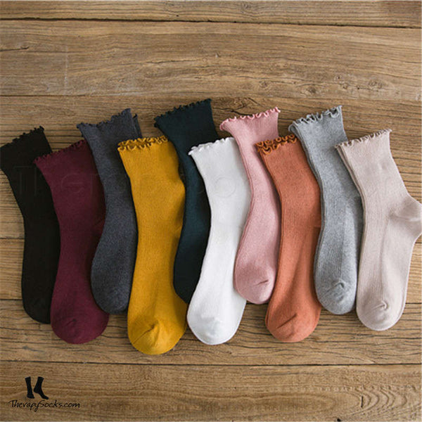 Buy Fungus Lace Tops Crew Casual Cotton Socks for Women