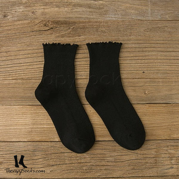 Fungus Lace Tops Crew Casual Cotton Socks Black