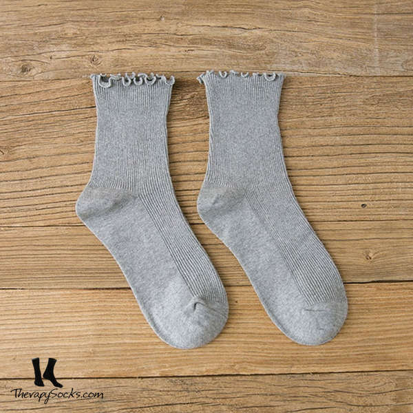 Fungus Lace Tops Crew Casual Cotton Socks Grey