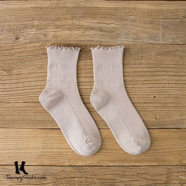 Fungus Lace Tops Crew Casual Cotton Socks Kahki
