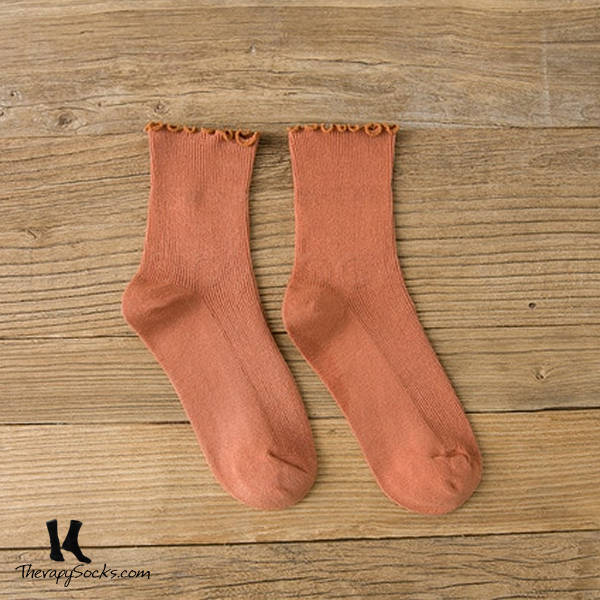Fungus Lace Tops Crew Casual Cotton Socks Orange
