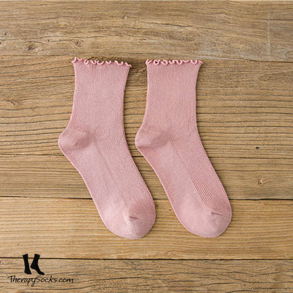 Fungus Lace Tops Crew Casual Cotton Socks Pink