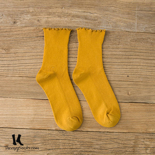 Fungus Lace Tops Crew Casual Cotton Socks Yellow