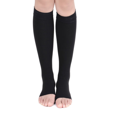 No Toe Anti-Fatigue Compression Knee High Stockings in Black