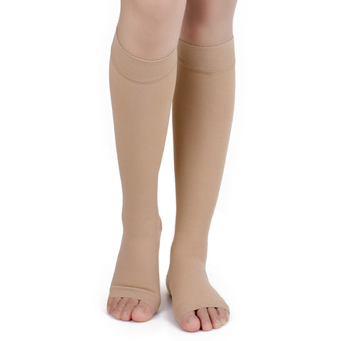 Beige No Toe Anti-Fatigue Compression Knee High Stockings