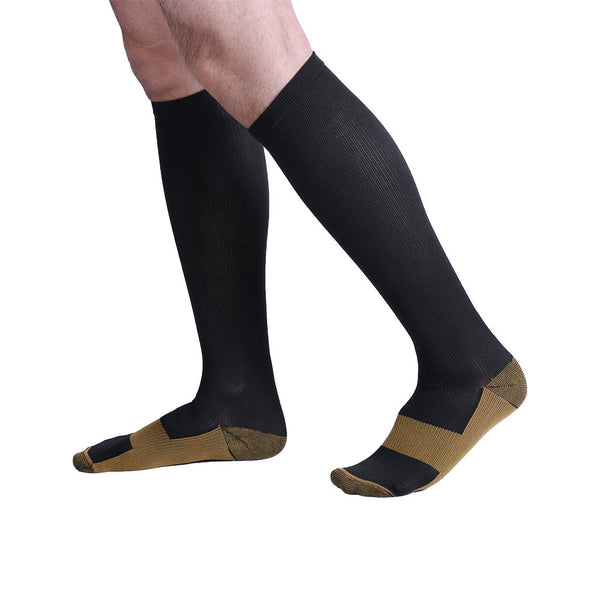 Side View Black Copper Anti-Fatigue Compression Knee High Socks