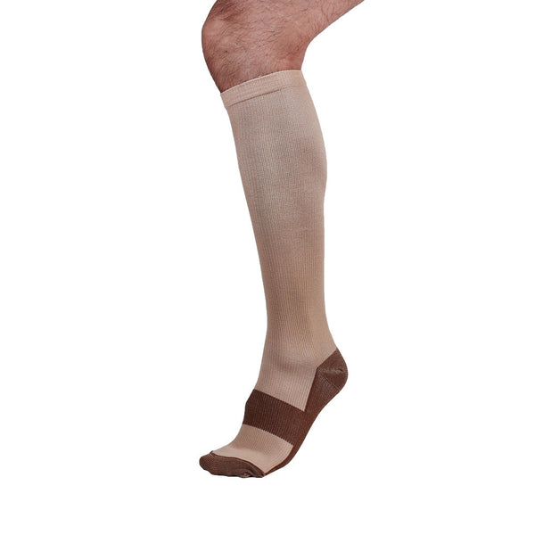 One Beige Copper Anti-Fatigue Compression Knee High Socks