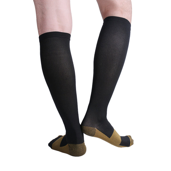 Rear View Black Copper Anti-Fatigue Compression Knee High Socks