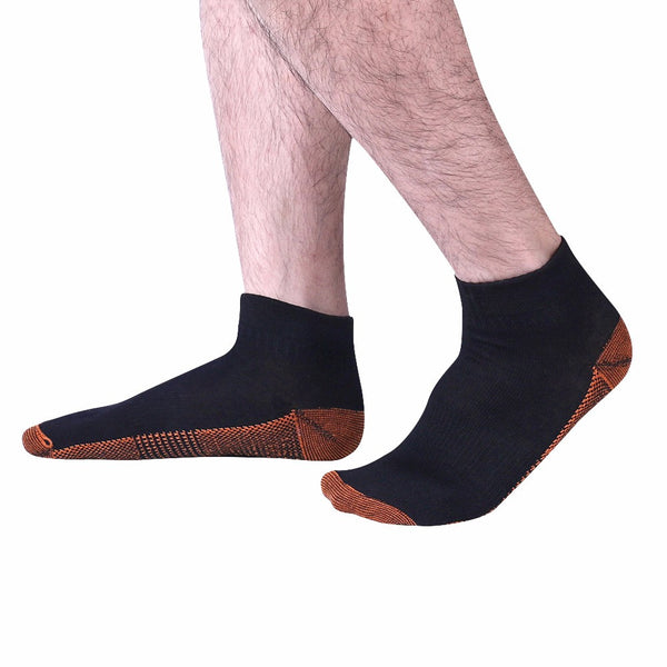 "Black Fatigue Reducing Miracle ""COPPER"" Ankle Socks"