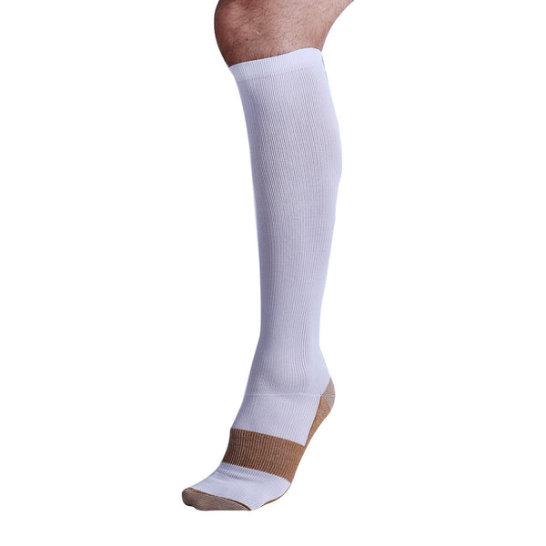 One White Copper Anti-Fatigue Compression Knee High Socks