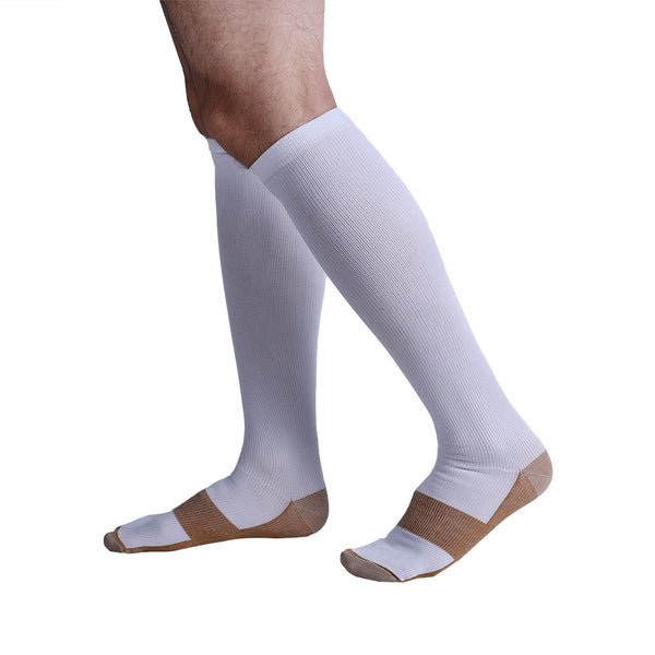 Side View White Copper Anti-Fatigue Compression Knee High Socks