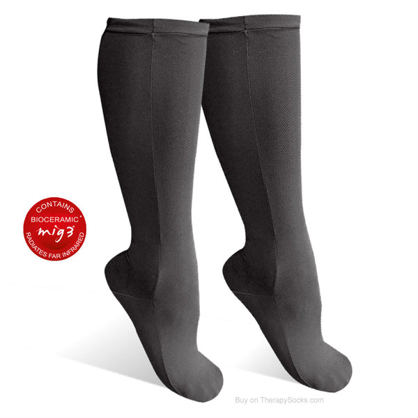 "Bioceramic ""Lounge"" Socks for Resting - non-compression - bed sock - Black"