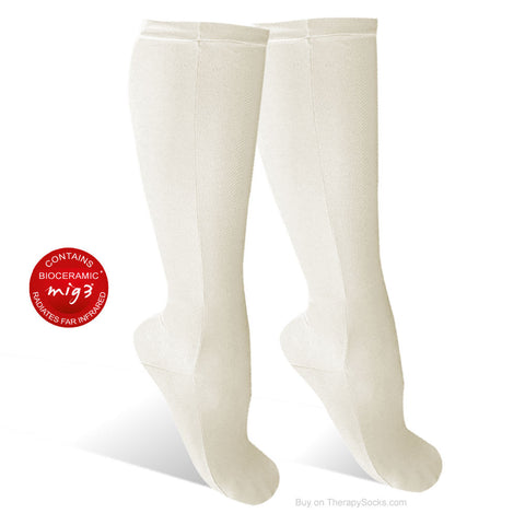 "Cream Bioceramic ""Lounge"" Socks for Resting - non-compression - bed sock"