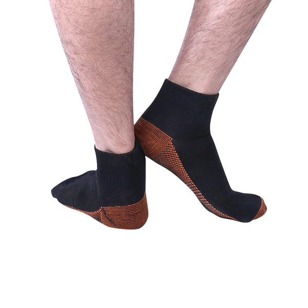 "Rear View Black Fatigue Reducing Miracle ""COPPER"" Ankle Socks"