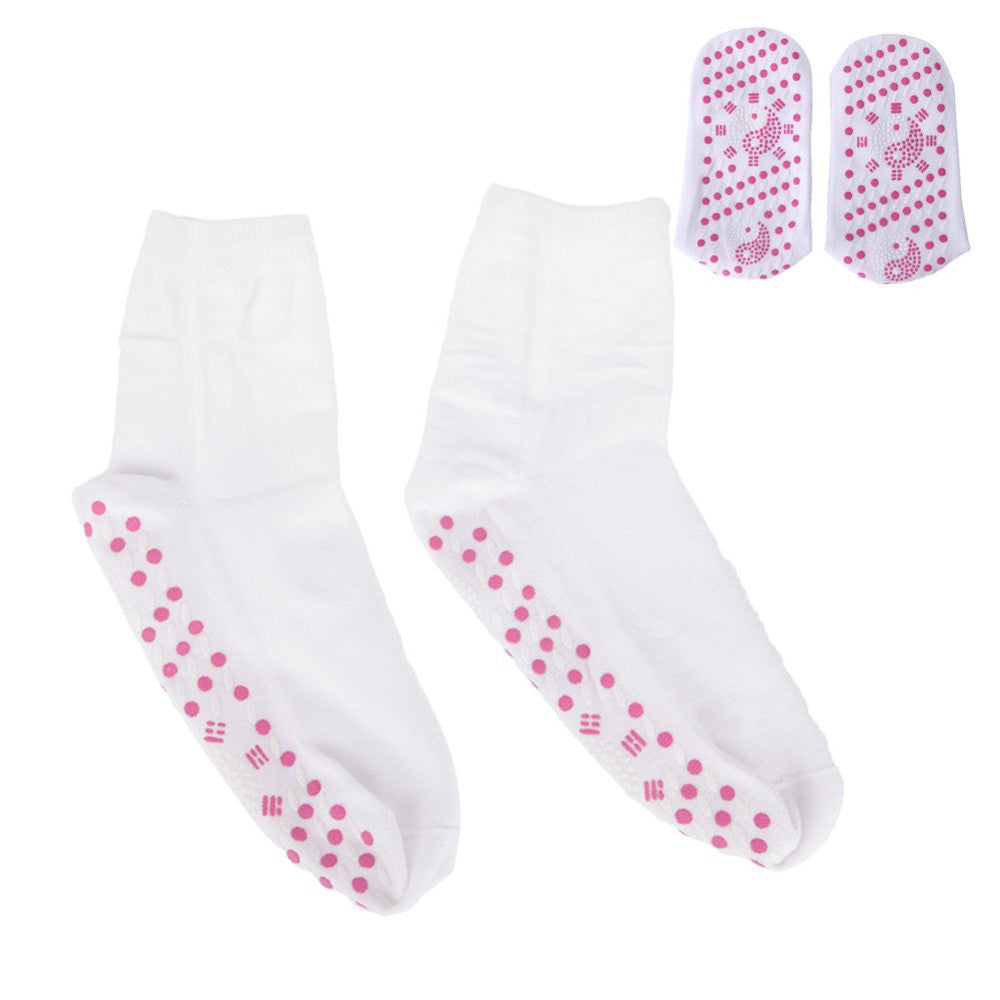 White Tourmaline Cotton Blend Therapy Socks