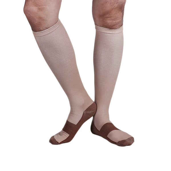 Beige Copper Anti-Fatigue Compression Knee High Socks