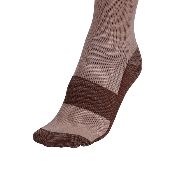 Foot of Beige Copper Anti-Fatigue Compression Knee High Socks
