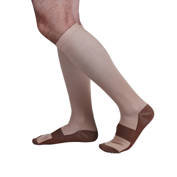 Side View Beige Copper Anti-Fatigue Compression Knee High Socks