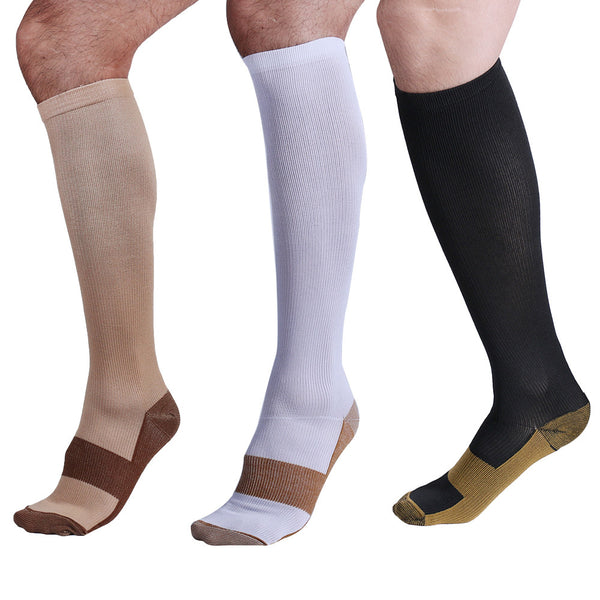 Three Colors Copper Anti-Fatigue Compression Knee High Socks