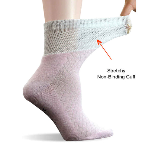 3 Pair Bamboo Non-Binding Diabetic Cushion Sole Ankle Socks