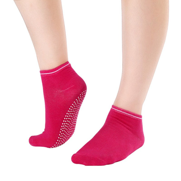 Rose Red Non Slip Women's Therapy Pilates Socks