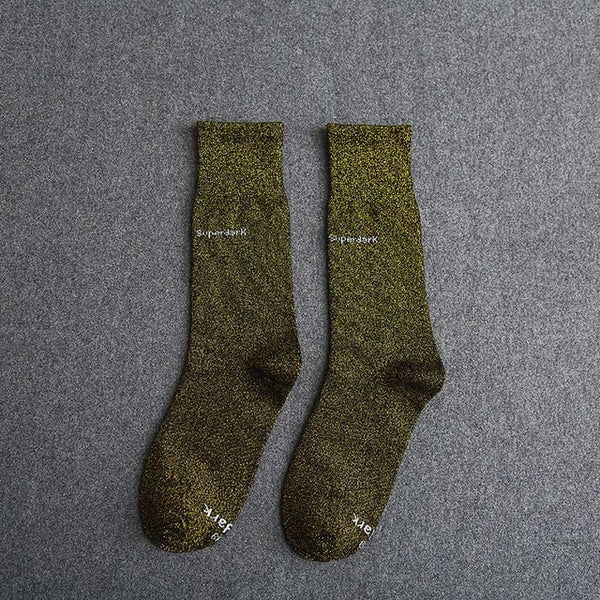 Buy Black Gold Cotton Crew Socks Size Medium Large