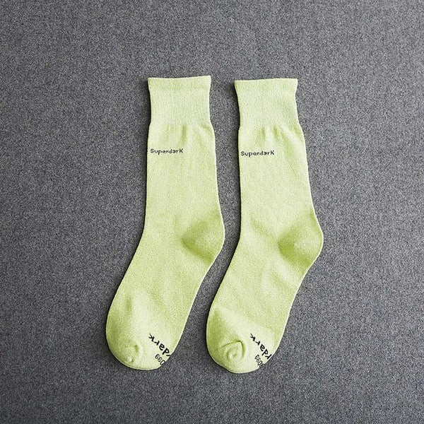 Buy Fluorescent Green Cotton Crew Socks Size Medium Large