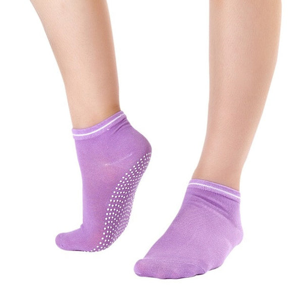 Lavender Non Slip Women's Therapy Pilates Socks