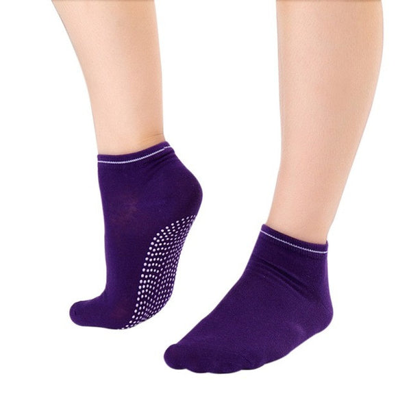 Purple Non Slip Women's Therapy Pilates Socks
