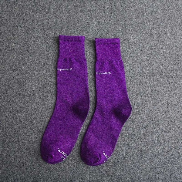Buy Puple Cotton Crew Socks Size Medium Large