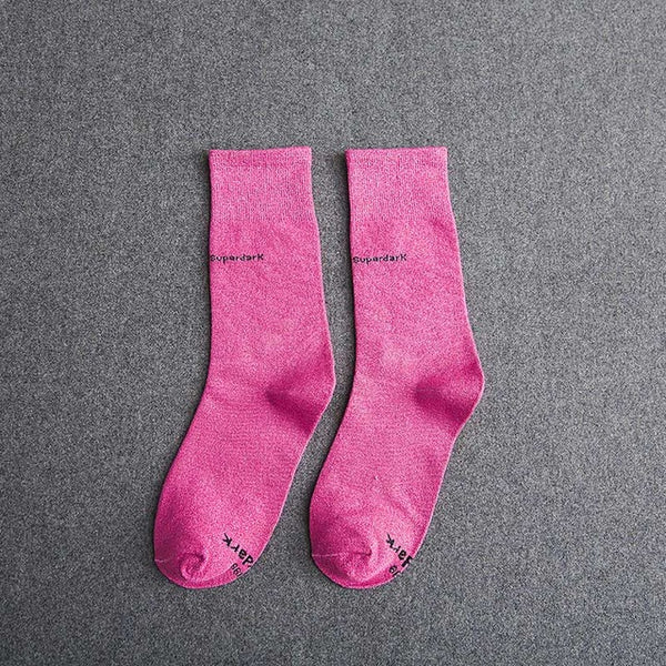 Buy Rose Red Cotton Crew Socks Size Medium Large