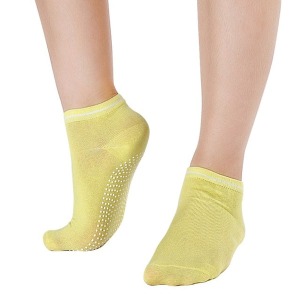 Yellow Non Slip Women's Therapy Pilates Socks