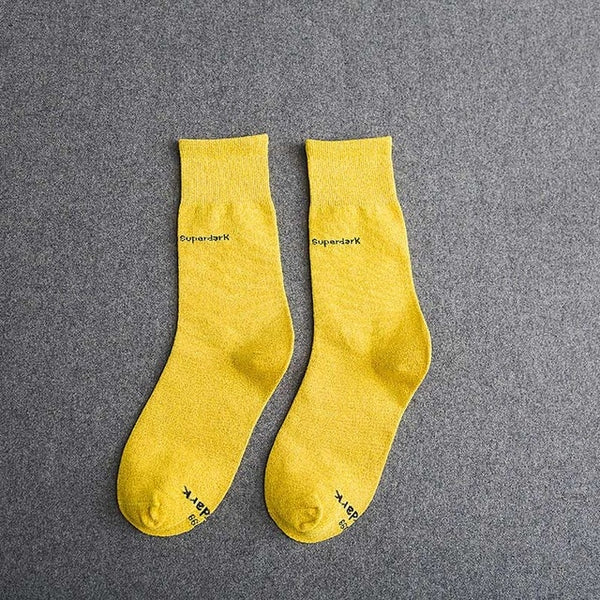 BuyYellow Cotton Crew Socks Size Medium Large