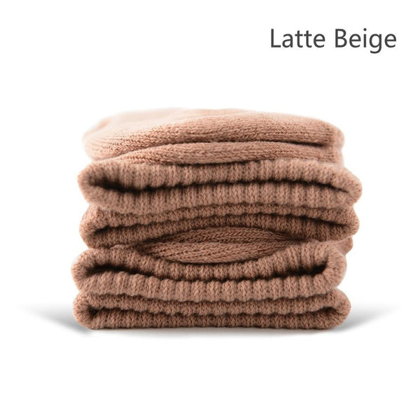 Latte Beige Cotton Terry-Loop Socks