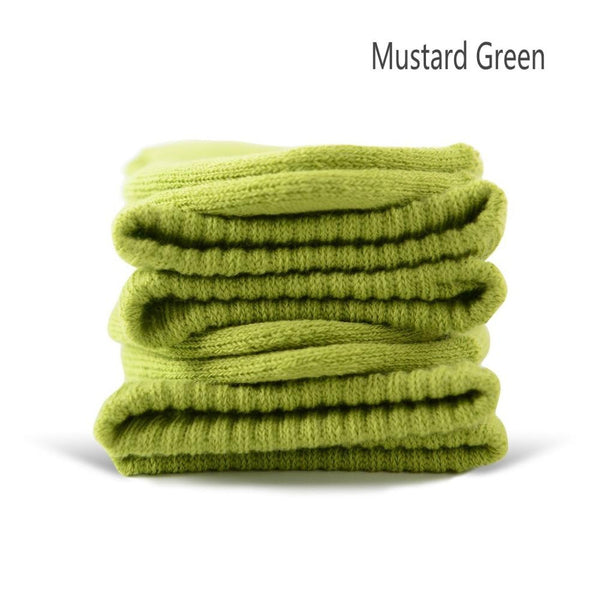 Mustard Green Cotton Terry-Loop Socks