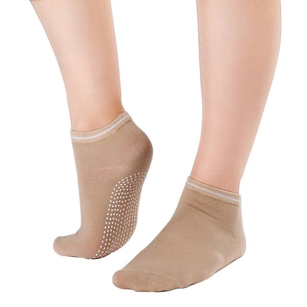 Beige Non Slip Women's Therapy Pilates Socks