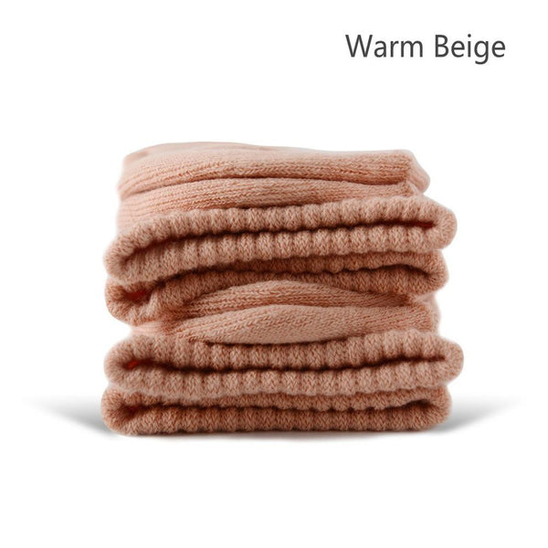 Warm Beige Cotton Terry-Loop Socks