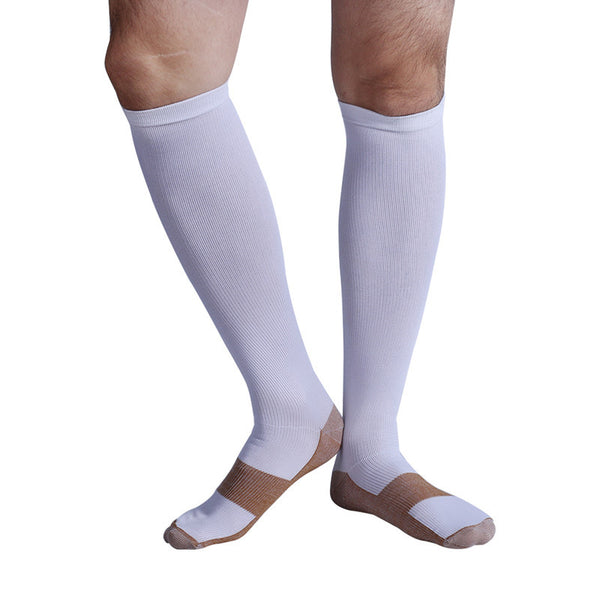 White Copper Anti-Fatigue Compression Knee High Socks