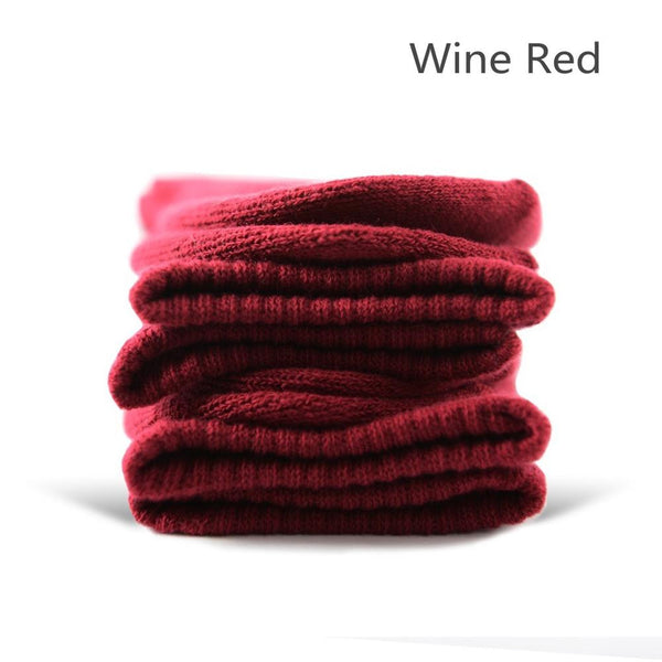 Wine Red Cotton Terry-Loop Socks