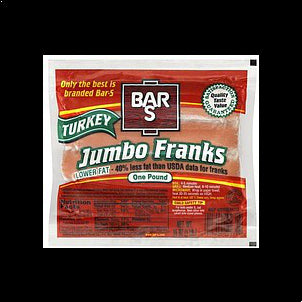 Bar S Franks Turkey, Jumbo 16 OZ
