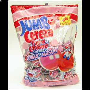 De la Rosa Paleta Jumbo Cereza con Chicle - 50 ct