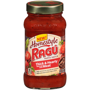 Ragu Homestyle Pasta Sauce, Thick & Hearty Flavored with Meat 23 OZ