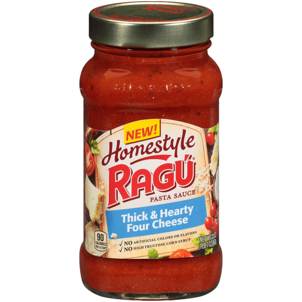 Ragu Homestyle Pasta Sauce, Thick & Hearty Four Cheese 23 OZ