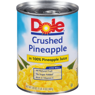 Dole Crushed Pineapple in 100% Pineapple Juice 20 OZ