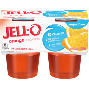Jell O Gelatin Snacks, Low Calorie, Sugar Free, Orange