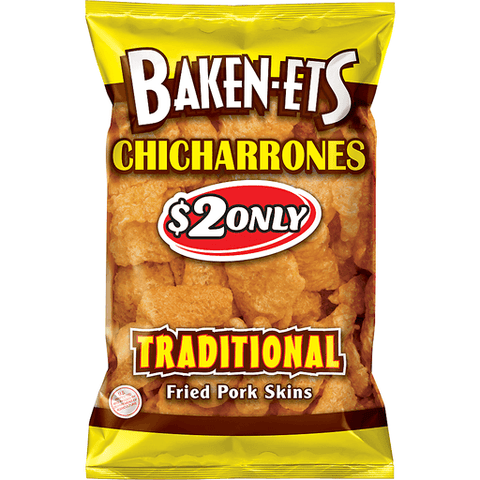 Baken-ets Traditional Fried Pork Skins $2 Prepriced 3.25 oz. Bag 3.25 OZ