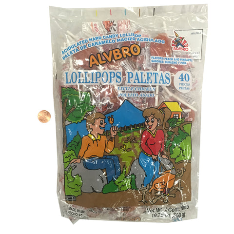 Alvbro Lollipops Paletas Little Chicken / Pollito Asado 560 GRS