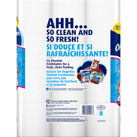 Charmin Ultra Soft Bathroom Tissue, Double Roll, 2-Ply 12 PK
