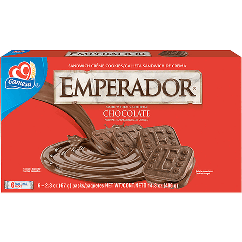 Gamesa Emperador Cookies, Sandwich, Creme, Chocolate 14.3 OZ